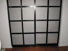 Paper shoji closet doors    http://www.instructables.com/id/Shoji-style-sliding-closet-doors-from-scratch/