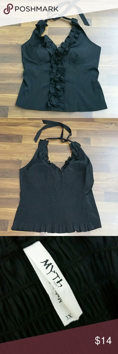 Myth NYC Womens 3XL Halter Top Smocked Black Myth NYC Womens 3XL Halter Top Smocked Black Very Gently Used Great Condition  Armpit to Armpit Unstretched 23 Inches Myth NYC Tops Tank Tops