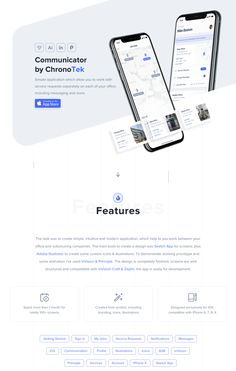 Communicator - Mobile Application Design (UI/UX) on Behance - landingpage - Diseño Website Design Inspiration, Website Design Layout, Web Layout, Layout Design, Design Thinking, Design Ios, Flat Design, Wireframe Design, Graphic Design