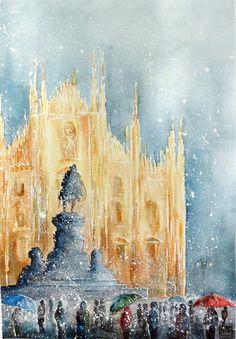 """ Vittorio Emanuele ,Milano "" acquerello di Lorenza Pasquali 35x51 N.D."