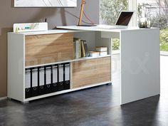 Modern Germania Slide corner desk with sliding door storage.