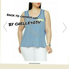 2XHP CASUAL COOL BY ETERNALTREASURE 2X HP CASUAL COOL BY ETERNALTREASURE  BACK TO CAMPUS BY CHELLE4OSU  This is a wonderful plus size striped tank top with sheer back and contrast zipper.NWT Tops