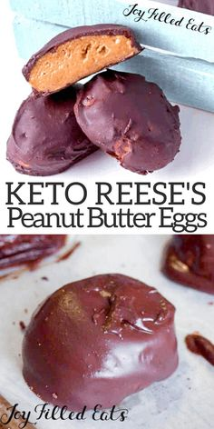 Chocolate Peanut Butter Eggs Recipe – Keto Low Carb THM S This Peanut Butter Eggs Recipe will fulfill your Easter craving. They are easy and so close to the real thing my kids couldn't tell the difference. Healthy copycat Reese's. Keto Foods, Ketogenic Recipes, Keto Snacks, Ketogenic Diet, Healthy Foods, Healthy Recipes, Egg Recipes, Low Carb Recipes, Dessert Recipes