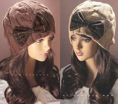 Women Girl Winter Bow Beanie Knit Crochet Ski Hat slouch Cap H1012 $8.49
