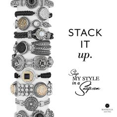 "Go crazy and stack to your heart's content with Magnolia and Vine's Bracelets and interchangeable ""Snaps!"" Layer them, mix and match them, jingle and gangle and sparkle and shine. Available at MyStyleInASnap.com"