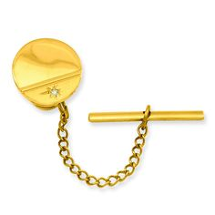 Gold-plated.01 Ct. Diamond Polished Florentined Tie Tack GP3849