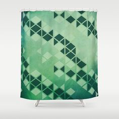 Forest Green - Geometric Triangle Pattern Shower Curtain by pelaxy Button Hole, Triangle Pattern, Curtain Rods, Shower Curtains, Hooks, Artists, Usa, Bathroom, Abstract