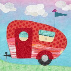 Quiltmaker's 100 Blocks Vol. 8 Blog Tour - Sassafras Lane Designs - love this retro camper applique
