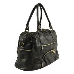 Ívelt fazonú sportos fekete táska - Olasz Táska