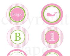 Whale Birthday Cupcake Topper - Print Your Own Whale Pink & Green Stripe