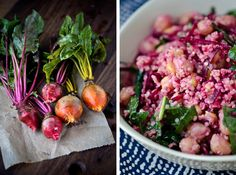 Ingredients:    1 cup quinoa  1 pound raw beets (around 2 medium), peeled and coarsely grated  1 bunch kale, stems and ribs removed and torn into 1 inch pieces  1 15 ounce can chickpeas drained and rinsed  3 tablespoons tahini  1 clove garlic  2 tablespoons fresh lemon juice  1 tablespoon white miso paste  1 teaspoon apple cider vinegar  ¼ cup water  kosher salt and black pepper