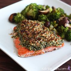 Pecan crusted salmon with roasted broccoli and mushrooms