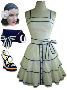 50s Style White Pinup Sun Dress with Navy Blue Detailing Tiered Full Skirt | eBay