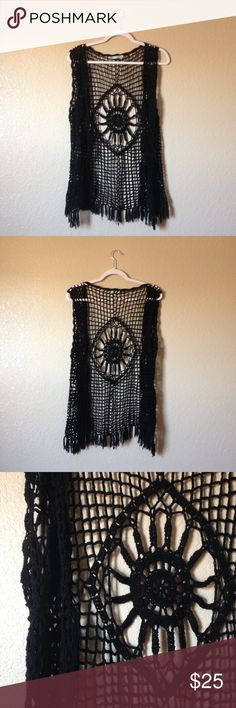 Bohemian Crochet Vest Super cute and trendy black open crochet vest, spice up any outfit, size S. I accept reasonable offers. ☺️ Maurices Tops