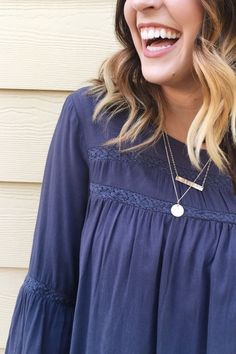 Ever After Blouse in Navy || ROOLEE