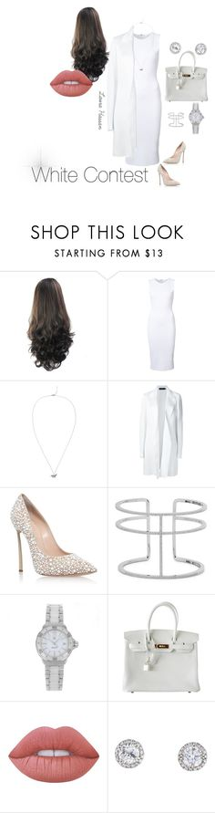 """""""White Contest"""" by laurahassan21 ❤ liked on Polyvore featuring Victoria Beckham, Valentino, Calvin Klein Collection, Casadei, APM Monaco, TAG Heuer, Hermès and Lime Crime"""
