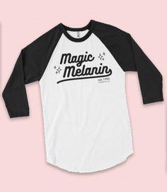 """Magic Melanin"" UNISEX Varsity 3/4 sleeve raglan tee (More Colors) - Adorned By Chi - 7"