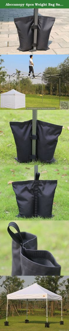 Abccanopy 4pcs Weight Bag Sand Bag Foot Weights for Ez Pop up Gazebo Canopy Marquee Tents. AbcCanopy Deluxe Weight Bag (Set of 4 Weight Bags) for Any Canopy or Tent. The weight bags hold up to 25 pounds on sand, rock, or dirt and are perfect for all surfaces. There is a hook and loop strap that is attached to each weight bag as it wraps around the leg to your canopy, thus allowing it to withstand high wind and other weather elements!. why buying from us: 6 month worranty. (we will provide...