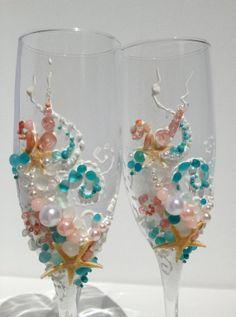 color french champagne flute | Beach+wedding+champagne+glasses+toasting+flutes+by+PureBeautyArt,+$74 ...