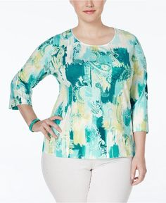 NEW  NWT 3X Karen Scott Printed Three-Quarter-Sleeve Top Plus Size NEW  #KarenScott #Blouse