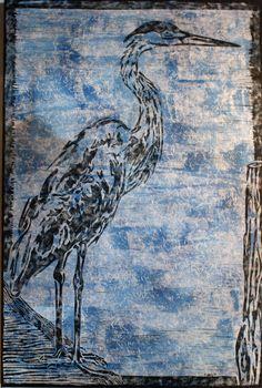 Blue Heron linoleum print