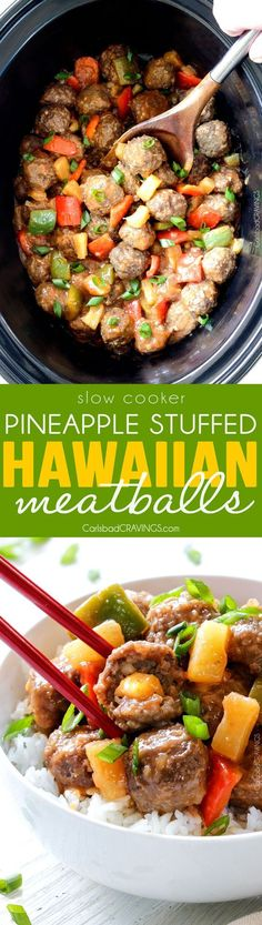 Tender Slow Cooker Hawaiian Meatballs are bathed in the most amazing sweet and tangy sauce and STUFFED with pineapple in every bite!! An incredible make ahead appetizer or family favorite dinner!