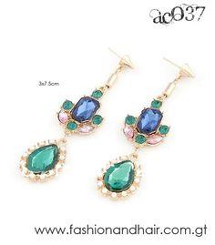 Crystal multi tone earrings-PROMOCIÓN ESPECIAL