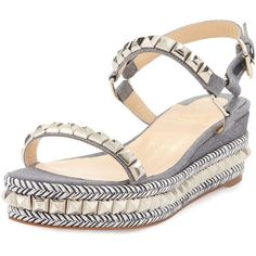 Christian Louboutin Cataclou Studded Twill Platform Espadrille (6,495 HKD) ❤ liked on Polyvore featuring shoes, sandals, light blue, wedges shoes, espadrille wedge sandal, studded sandals, wedge sandals and platform espadrilles