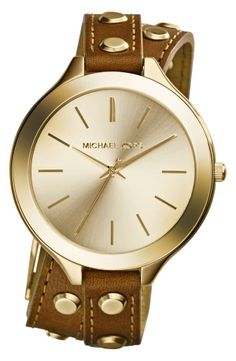 Adore the casual style of this Michael Kors 'Slim Runway' Double Wrap Leather Strap Watch.