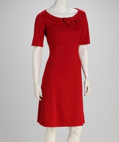 Take a look at this Red New Claedonia Dress by Shabby Apple on #zulily today!  Take the bow, shorten the sleeves, and love the dress.