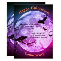 #Full Moon Crow Bats Purple Tint  Sky Halloween Card - #Halloween happy halloween #festival #party #holiday