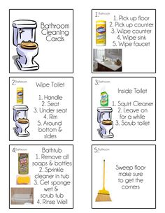 Chore Cards Chore Flip Charts – Tips from a Typical Mom – Bathroom Cleaning Cleaning Checklist, House Cleaning Tips, Deep Cleaning, Spring Cleaning, Cleaning Hacks, Cleaning Schedules, Cleaning Lists, Kids Checklist, Weekly Cleaning