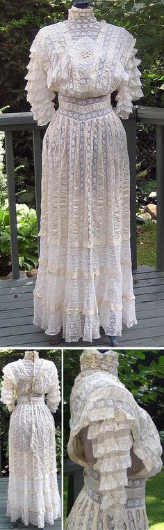Summer dress ca. 1900s. Alternating bands of satin ribbon and patterned, netted lace. Lace embellishment at bodice, tiered lace sleeves. Back closes with hooks & eyes. wildbunny4/ebay