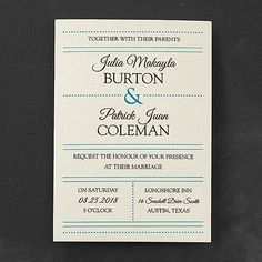 You've found the one who's just your type. And this ecru, typography wedding invitation is a great way to spread the news in vintage style.