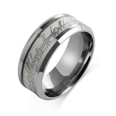 8mm Glow in the Dark Lord of the Ring Stainless Steel Luminous Ring Band