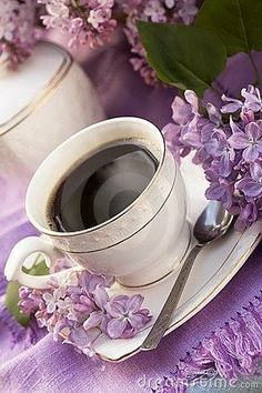 porcelain cup with coffee and lilac Coffee Vs Tea, Coffee Love, Coffee Art, Coffee Break, Coffee Shop, Coffee Cups, Tea Cups, Coffee Music, Tea And Books