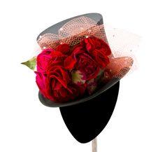 Chistera negra con flores de Mimoki