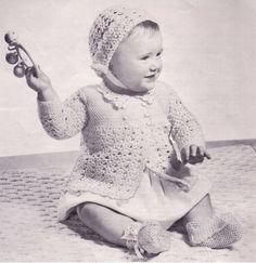 Crocheted Set for 12 Months, Jacket, Bonnet, Booties, PDF Digital Download, Crochet Pattern, Vintage, Baby shower, Baptism, Christening by LisabyLisaDesign on Etsy