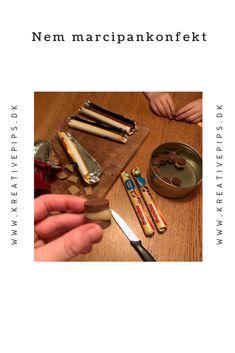 Lav selv den nemmeste marcipankonfekt med Marabou chokolade og marcipan Cinnamon Sticks, Spices, Christmas, Diy, Food, Xmas, Spice, Bricolage, Essen