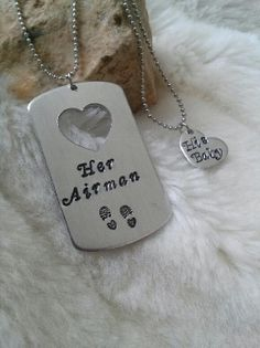 Her Airman Hand Stamped Dog Tag Necklace SET Personalized- Heart, Boot Prints - Military Deployment Husband Boyfriend Air Force on Etsy, $21.00