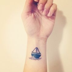 Sailboat Tattoo by Hank at Holdfast Tattoos in Perth, Australia. Tatto Ink, 1 Tattoo, Tattoo Motive, Piercing Tattoo, First Tattoo, Piercings, Yakuza Tattoo, Tattoo Symbols, Calf Tattoo