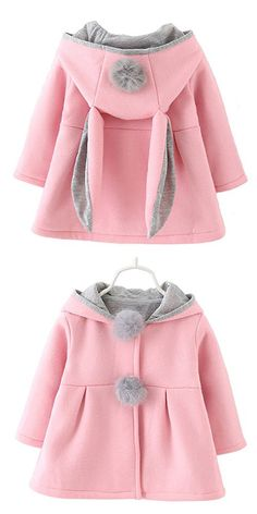 Baby Girls Toddler Kids Winter Big Ears Hoodie Jackets Outerwear Coats(Pink,2T,XL/10)