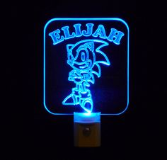 Personalized #Sonic the Hedgehog LED Night Light by Unique LED Products#personalizedgift #LED #CLEVELAND