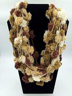 Infinity Scarf - Necklace Scarf - Pom Pom Scarf - Brown Accessory