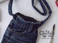tutorial riciclare jeans fare borsello tracolla fai da te diy 36
