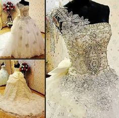 Beautiful wedding gown encrusted with jewels and the skirt is made up rows of ruffled lace!!! Bebe'!!! Love this gown but would remove the back bow!!!
