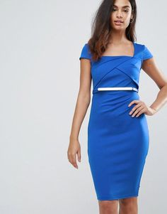 Jessica Wright Belted Capped Sleeve Midi Dress - Blue