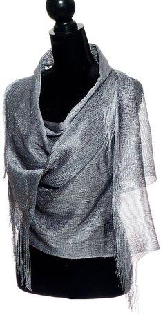 Elles Clothing Sheer Mesh Glitter Sparkle Shawl Wrap Fringe Prom Weddings Party Evening Scarfs for Women (Metallic Grey Silver)