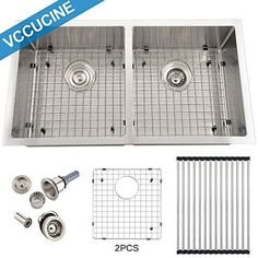 VCCUCINE Best Commercial 33 Inch Handmade Drop in Stainless Steel 18 Gauge Double Bowl Undermount Kitchen Sink, 304 Stainless Farmer Sink * Read more reviews of the product by visiting the link on the image.