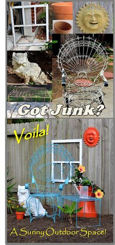 Weathered Junk to Sunny Treasure.  All it takes is a few cans of spray paint and a little creativity!